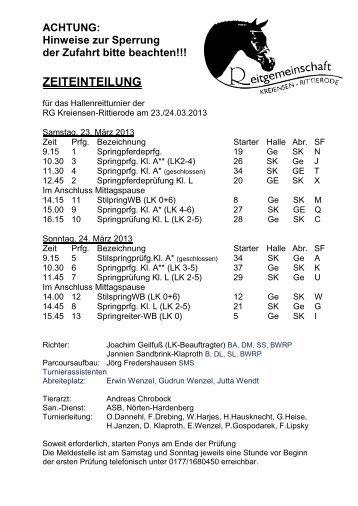 ZEITEINTEILUNG - RG Kreiensen - Rittierode eV