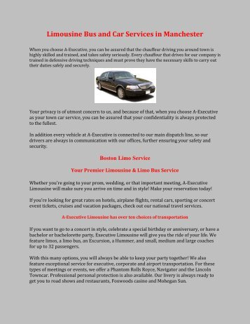 Limousine Bus and Car Services in Manchester