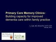 Primary Care Memory Clinics - Regional Geriatric Program of ...