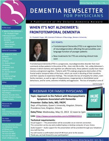 Champlain Dementia Network Physician Newsletter Spring 2013