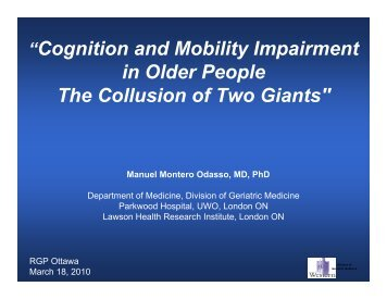 """""""Cognition and Mobility Impairment in Older People The Collusion of ..."""
