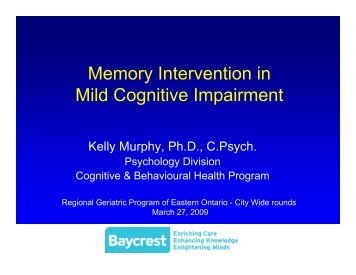 Memory Intervention - Regional Geriatric Program of Eastern Ontario
