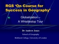 RGS 'On Course for Success in Geography'