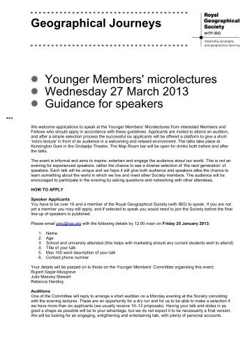 Speaker guidelines (PDF) - Royal Geographical Society