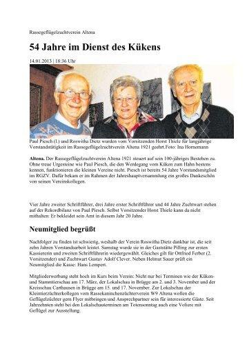 54 Jahre im Dienst des Kükens - RGZV Iserlohn und Umgebung