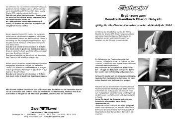 Ergänzung zum Benutzerhandbuch Chariot ... - Fahrrad Kaiser Gmbh