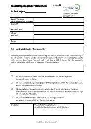 Zusatzfragebogen Lernförderung - Rhein-Erft-Kreis