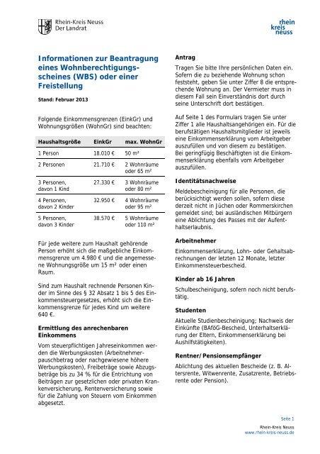 Wohnberechtigungsschein - Rhein-Kreis Neuss