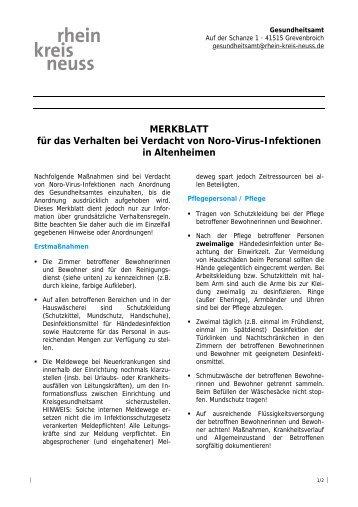 Für das Verhalten bei Verdacht von Noro-Virus-Infektionen in ...