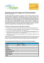Antrag zur Ausstellung der Ehrenamtskarte - Rheinberg