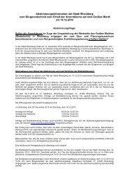 Abstimmungsinformation der Stadt Rheinberg zum Bürgerentscheid
