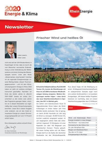 Energie & Klima 2020 Newsletter Nr. 1-1/2010 - RheinEnergie AG