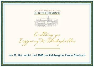 Einladung zur Eröffnung des Steinbergkellers - Rheingau