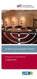 Die Menora aus der Synagoge in Vettweiß Vortrag von Dr. Ursula ...