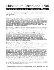 Neue Wege in der museumspädagogischen Arbeit an Kölner ...