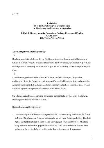 Richtlinien vom 07.12.2004 über die Gewährung von Zuwendungen ...