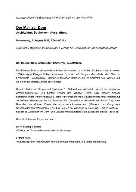 Der Mainzer Dom - Rheinischer Verein
