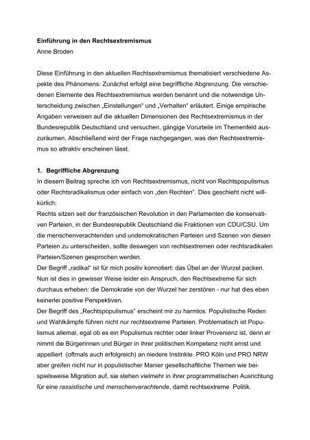Einführung in den Rechtsextremismus