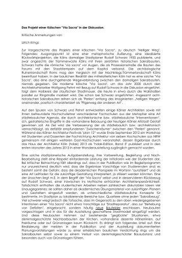 """Das Projekt einer Kölschen """"Via Sacra"""" - Rheinischer Verein"""