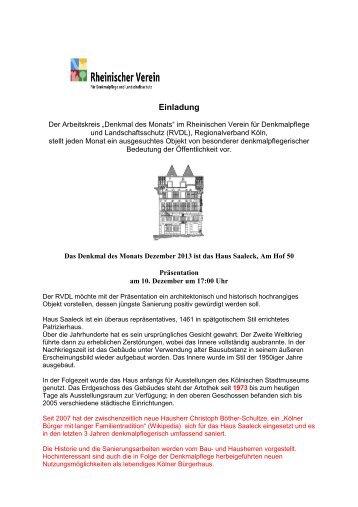 DdM Dezember 2013_Haus Saaleck - Rheinischer Verein für ...