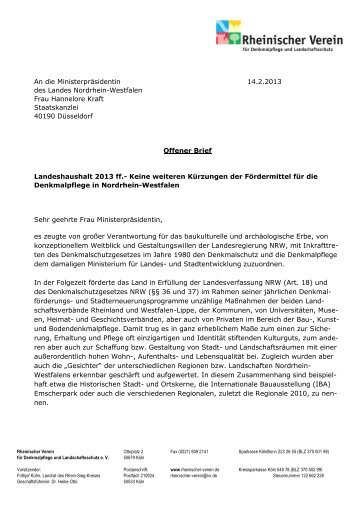offenen Brief - Rheinischer Verein