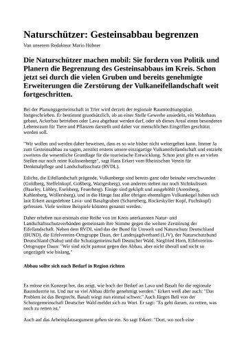 Naturschützer: Gesteinsabbau begrenzen - Rheinischer Verein