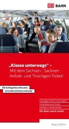 """""""Klasse unterwegs"""" – Mit dem Sachsen-, Sachsen- Anhalt- und -  Bahn"""
