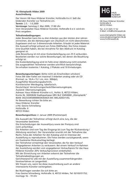 10. Kleinplastik Hilden 2009 Ausschreibung Der Verein H6 Haus ...