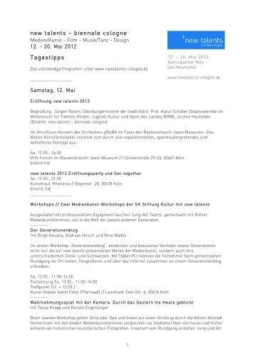 new talents – biennale cologne Tagestipps - Rheinschiene@ktuell