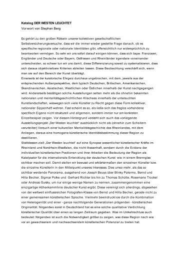 Katalog DER WESTEN LEUCHTET Vorwort von Stephan Berg