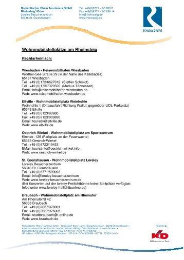 Liste der Wohnmobilstellplätze - Rheinsteig