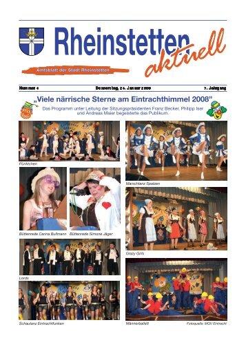 """""""Viele närrische Sterne am Eintrachthimmel 2008"""" - Stadt Rheinstetten"""