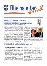 Sonntag, 8. März, 19:30 Uhr - Stadt Rheinstetten