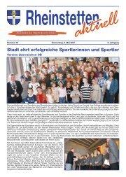 Stadt ehrt erfolgreiche Sportlerinnen und Sportler - Stadt Rheinstetten