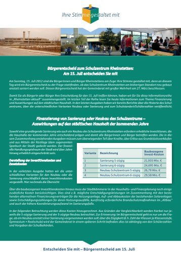 Detailinfos der Finanzierung - Stadt Rheinstetten