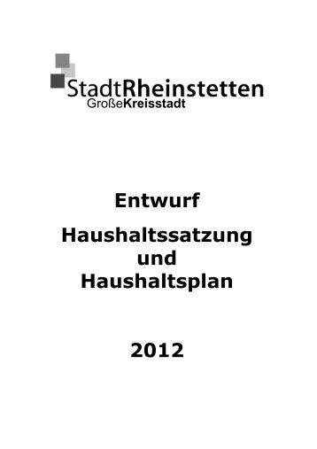 Entwurf Haushaltssatzung und Haushaltsplan 2012 - Stadt ...