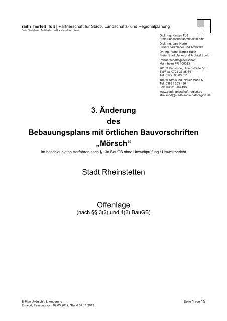 3. Änderung des Bebauungsplans mit örtlichen Bauvorschriften ...