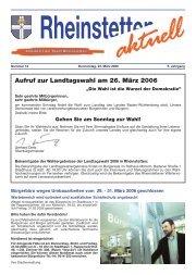 Aufruf zur Landtagswahl am 26. März 2006 - Stadt Rheinstetten