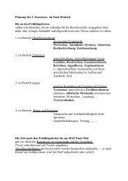 Planung des 2. Semesters im Fach Deutsch Bis zu den ...