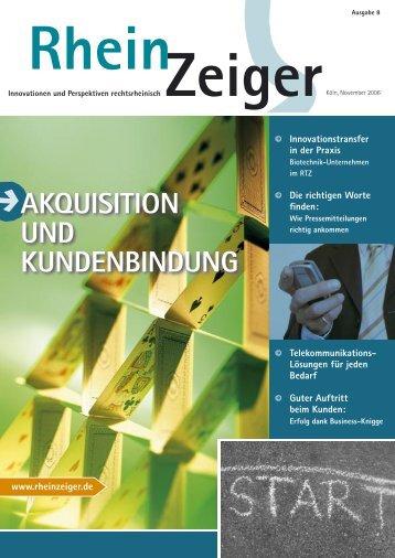 AKQUISITION UND KUNDENBINDUNG - Rheinzeiger
