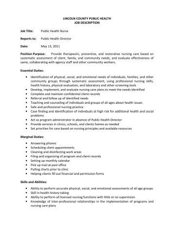 lincoln county public health job description job title