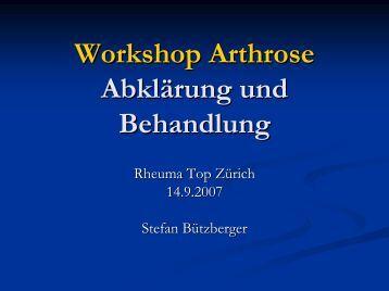 Workshop Arthrose Abklärung und Behandlung - Rheuma Schweiz