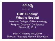 GME Funding - American College of Rheumatology