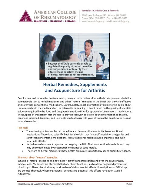 Herbal Remedies, Supplements and Acupuncture for Arthritis