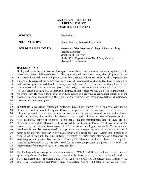 Biosimilars - American College of Rheumatology