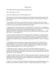 Reference List Osteoarthritis - American College of Rheumatology