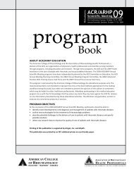2009 Annual Scientific Meeting Program Book - American College of ...