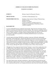 Biologic Agents for Rheumatic Diseases - American College of ...