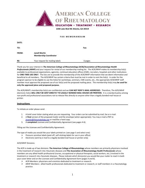 Mailing List Label Request Form - American College of Rheumatology