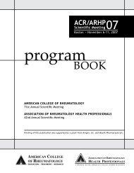 2007 ACR/ARHP Scientific Meeting Program Book - American ...